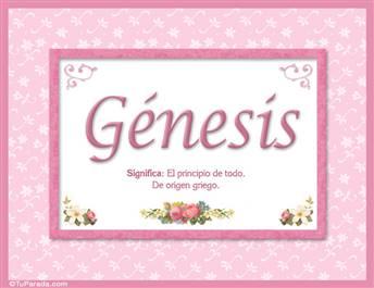 Génesis, nombre, significado y origen de nombres