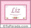 Nombre Tarjeta con imagen de Liz para feliz cumpleaños