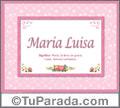 Nombre Tarjeta con imagen de María Luisa para feliz cumpleaños