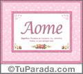 Aome, nombre, significado y origen de nombres