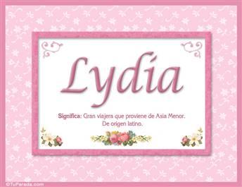 Lydia, nombre, significado y origen de nombres