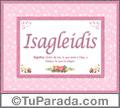 Nombre Tarjeta con imagen de Isagleidis para feliz cumpleaños
