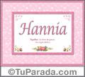 Hannia, nombre, significado y origen de nombres