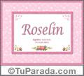 Roselin, nombre, significado y origen de nombres