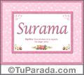 Nombre Tarjeta con imagen de Surama para feliz cumpleaños