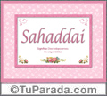 Nombre Tarjeta con imagen de Sahaddai para feliz cumpleaños