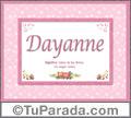 Dayanne, nombre, significado y origen de nombres