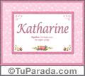 Katharine, nombre, significado y origen de nombres