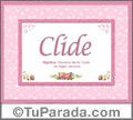 Nombre Tarjeta con imagen de Clide para feliz cumpleaños