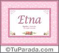 Nombre Tarjeta con imagen de Etna para feliz cumpleaños