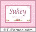 Nombre Tarjeta con imagen de Suhey para feliz cumpleaños