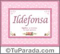 Nombre Tarjeta con imagen de Ildefonsa para feliz cumpleaños