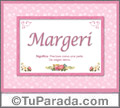 Nombre Tarjeta con imagen de Margeri para feliz cumpleaños