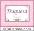 Duquesa, nombre, significado y origen de nombres