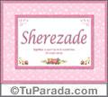 Nombre Tarjeta con imagen de Sherezade para feliz cumpleaños