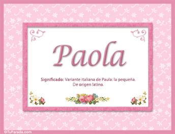 Paola, nombre, significado y origen de nombres