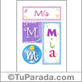 Mía - Carteles e iniciales