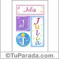 Julia, nombre, imagen para imprimir