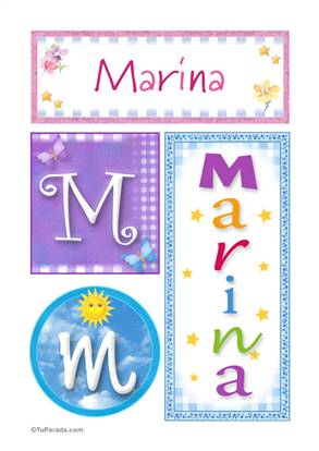 Marina, nombre, imagen para imprimir