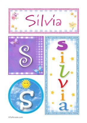 Silvia, nombre, imagen para imprimir