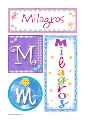 Milagros, nombre, imagen para imprimir