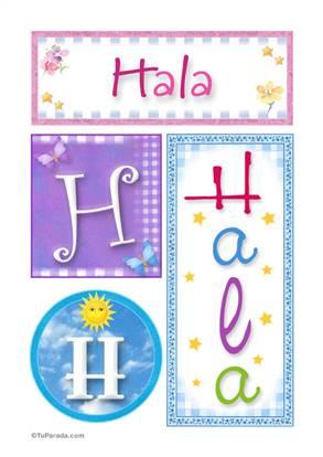Hala, nombre, imagen para imprimir