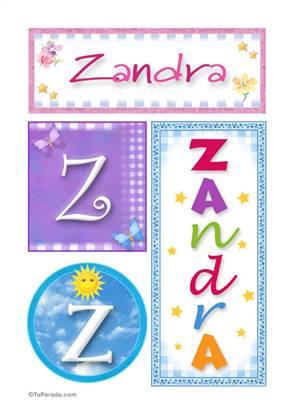 Zandra, nombre, imagen para imprimir