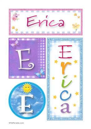Erica, nombre, imagen para imprimir