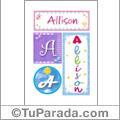 Allison, nombre, imagen para imprimir