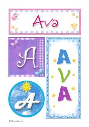 Ava, nombre, imagen para imprimir