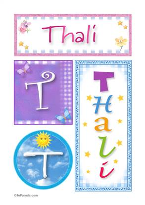 Thali, nombre, imagen para imprimir