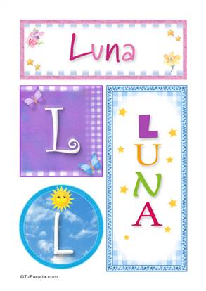 Luna, nombre, imagen para imprimir