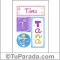 Tana, nombre, imagen para imprimir