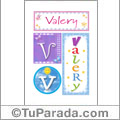 Valery, nombre, imagen para imprimir