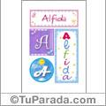 Alfida, nombre, imagen para imprimir