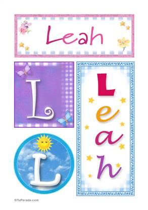 Leah, nombre, imagen para imprimir