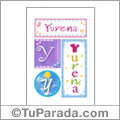 Yurena, nombre, imagen para imprimir