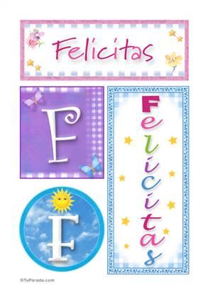 Felicitas, nombre, imagen para imprimir
