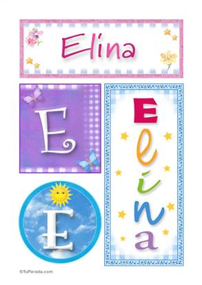 Elina, nombre, imagen para imprimir