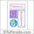 Génesis, nombre, imagen para imprimir