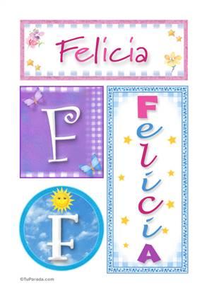 Felicia, nombre, imagen para imprimir