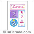 Zurama, nombre, imagen para imprimir