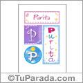 Purita, nombre, imagen para imprimir