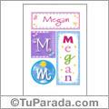 Megan, nombre, imagen para imprimir