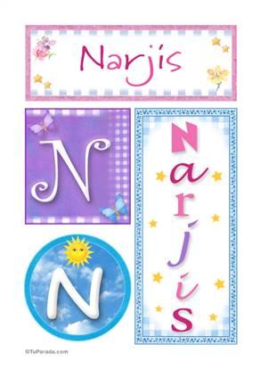 Narjis, nombre, imagen para imprimir