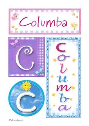 Columba, nombre, imagen para imprimir