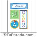 Alonso, nombre, imagen para imprimir