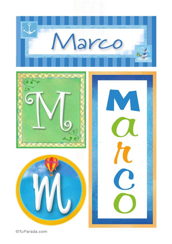 Marco, nombre, imagen para imprimir - Varón - Nombres propios, tarjetas