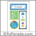 Simón, nombre, imagen para imprimir