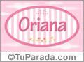 Nombre Nombre Oriana de bebé, para imprimir